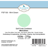 "Elizabeth Craft Designs Soft Finish Cardstock 12x12"" 10pk Mint Green"