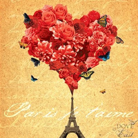 Dove of The East Paris Vintage Paper Paris I Love You