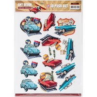 Find It Trading Vintage Vehicles 3D Punchout Sheet Automobiles by Amy Design