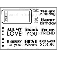 "Sweet 'n Sassy Clear Stamp 3x4"" Ticket Sentiments"