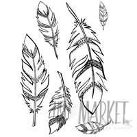 49 and Market Clear Stamp Feathers