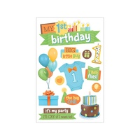 Paper House 3D Stickers 1st Birthday Boy