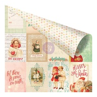 "Prima 12x12"" Double Sided Cardstock Sweet Peppermint The Most Wonderful Time of Year"