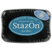Tsukineko StazOn Solvent Ink Pad Teal Blue