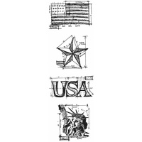 Stampers Anonymous Stamps Mini Blueprints Americana by Tim Holtz