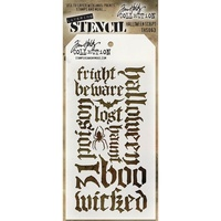 Stampers Anonymous Layered Stencil Halloween Script by Tim Holtz