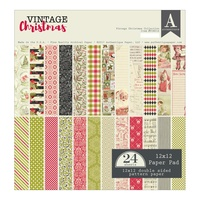 "Authentique 12x12"" Double Sided Cardstock Pad Vintage Christmas 24pg"