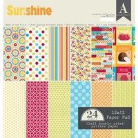 "Authentique 12x12"" Double Sided Cardstock Paper Pad Sunshine 24pg"