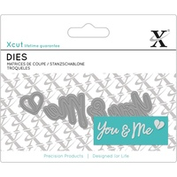 Xcut Mini Decorative Die You & Me Sentiment 4pk