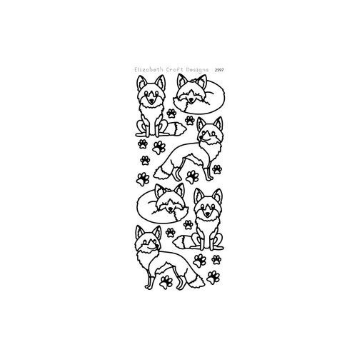 Elizabeth Craft Designs Outline Stickers Black Foxy