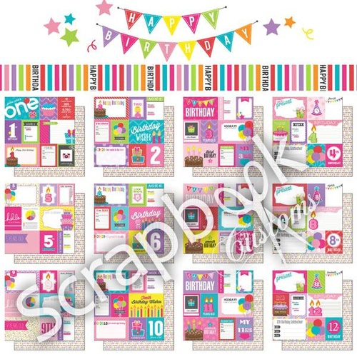 Scrapbook Customs Paper Pack 1st-12th Birthday Girl Journal 12pc