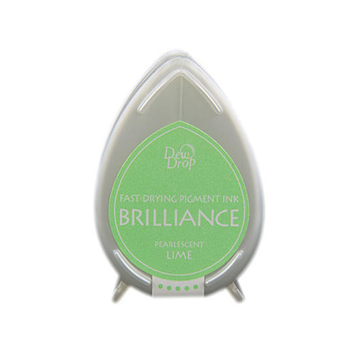 Tsukineko Brilliance Dew Drop Pigment Ink Pad Pearlescent Lime