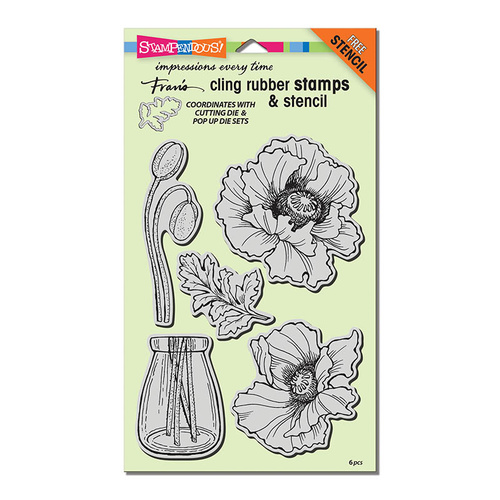 Stampendous Cling Stamps Pretty Poppies by Fran Seiford