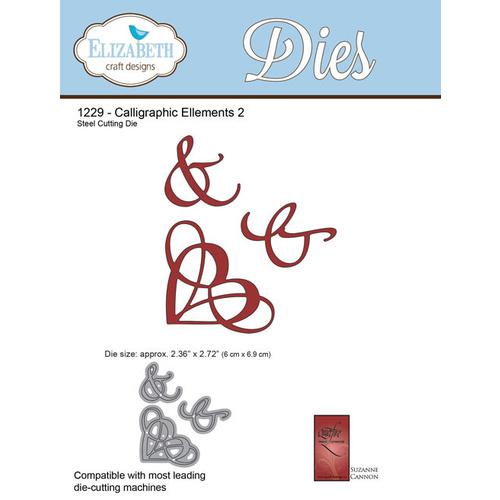 Elizabeth Craft Designs Die A Way With Words Calligraphic Elements 2 by Suzanne Cannon