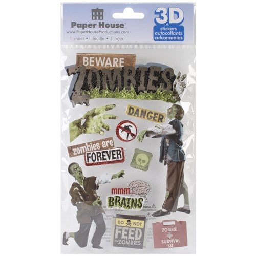 Paper House 3D Stickers Beware Zombies