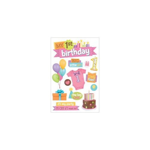 Paper House 3D Stickers 1st Birthday Girl