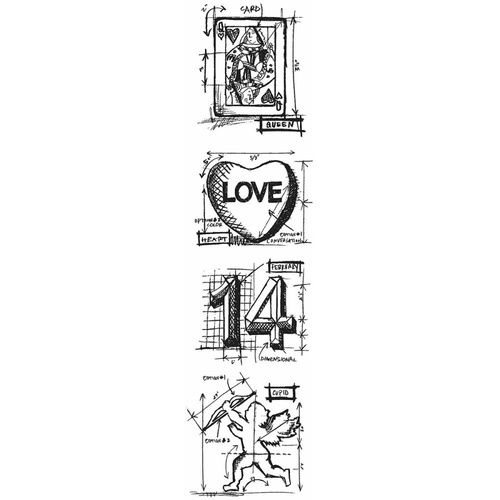 Stampers Anonymous Stamps Mini Blueprints Valentine by Tim Holtz