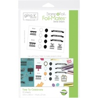 Thermoweb Foil-Mates StampnFoil Detail Sheets Time to Celebrate 10pk by Gina K