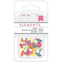 "American Crafts Brads Elements Brights .1875"" 50pc"