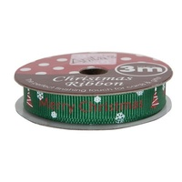 Anita's Christmas Ribbon 3mt Green Merry Christmas
