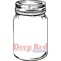 Deep Red Stamp Mason Jar