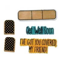 Sizzix Framelits Die & Stamp Set Get Well Soon 4pc by Stephanie Barnard