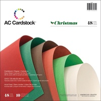"American Crafts Textured Cardstock Pack 12x12"" 48pg Christmas"