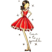 "Little Darlings Cling Stamp 4x7"" All Dressed Up Time to Sparkle"
