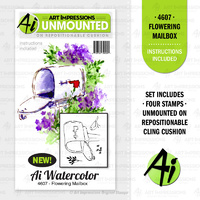 Art Impressions Watercolours Cling Stamp Flowering Mailbox