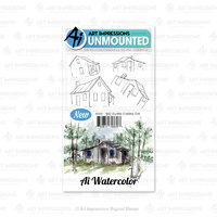 Art Impressions Watercolours Cling Stamp Rustic Cabins