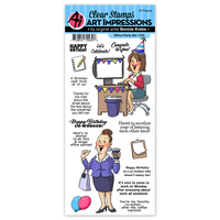 Art Impressions Work & Play Clear Stamp Set Office Party