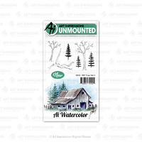 Art Impressions Watercolours Cling Stamp Tree Set #1