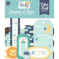 Echo Park Hello Baby Boy Ephemera Cardstock Die Cuts Frames & Tags