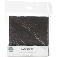 "Kaisercraft 5.5x5.5"" Square Cards & Envelopes Black 10pk"