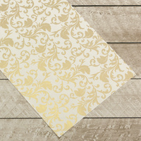 Couture Creations Special Occasions Foiled Paper Pack Gold Damask on White