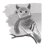 Spellbinders 3D Cling Stamp Winter Owl