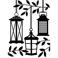 Darice Embossing Folder A2 Lanterns in a Tree