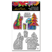 Stampendous Cling Stamp & Die Set Holiday Friends