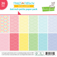 "Lawn Fawn 6"" Really Rainbow Scallops Petite Paper Pack"