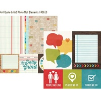 Simple Stories Daily Grind Paper 4x4 Quote & 6x8 Photo Mat Elements