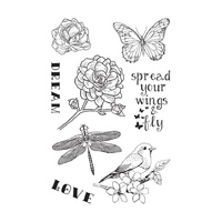 "Ultimate Crafts Stamp 4x6"" L'Aquarelle Spread Your Wings"
