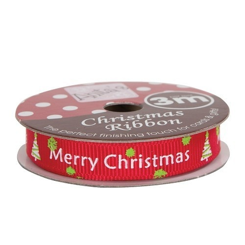 Anita's Christmas Ribbon 3mt Red Merry Christmas