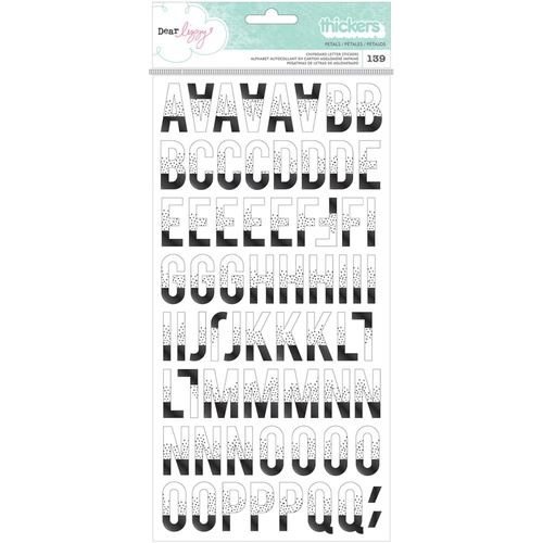 American Crafts Thickers Alpha Stickers Saturday Petals Printed Chipboard by DearLizzy