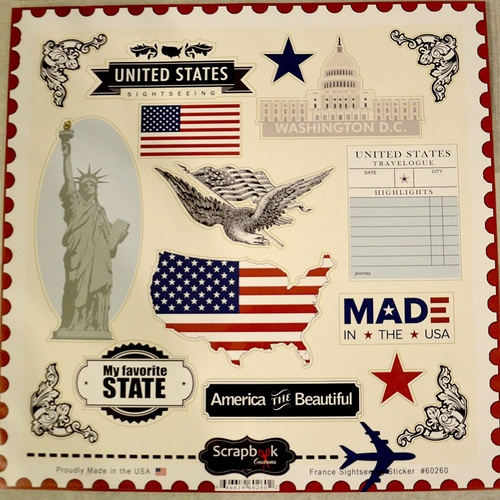 Scrapbook Customs Sticker USA Sightseeing