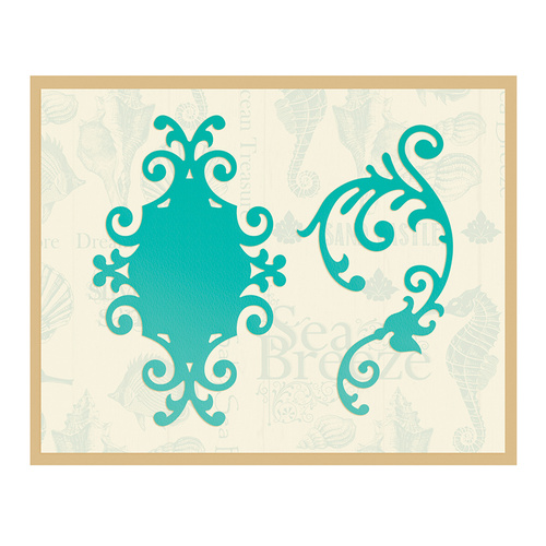 Couture Creations Sea Breeze Die Sandy Frame & Flourish 80x50mm, 75x40mm