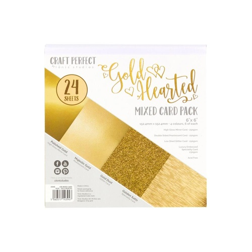 "Craft Perfect 6"" Mixed Card Pack Golden Hearted"