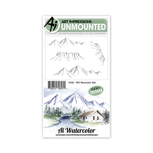 Art Impressions Watercolours Stamp Mountain