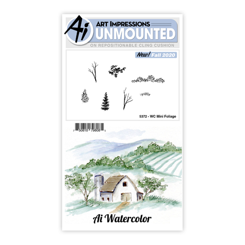 Art Impressions Watercolours Mini Foliage Stamp Set