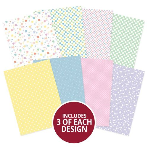 Hunkydory Adorable Scorable Polka Party A4 Pattern Cardstock Pack