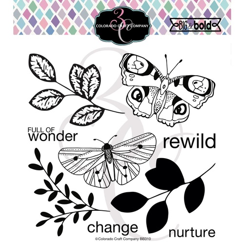 Colorado Craft Company Big & Bold Stamp Blissful Butterflies